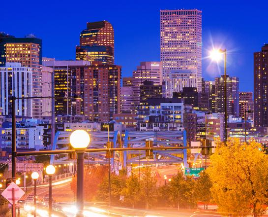 Downtown Denver traffic at night
