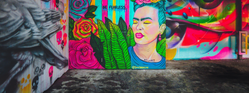 wall painting of Frida and vibrant colors
